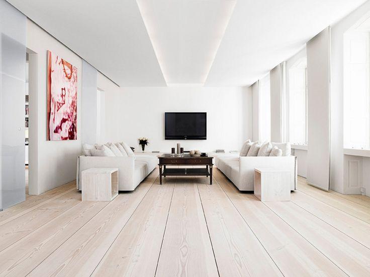 beautiful floor: Modern Living Rooms, White Living, Living Rooms Design, Wooden Floors, Interiors Design, Wood Floors, Wide Plank, Flooring, White Wall
