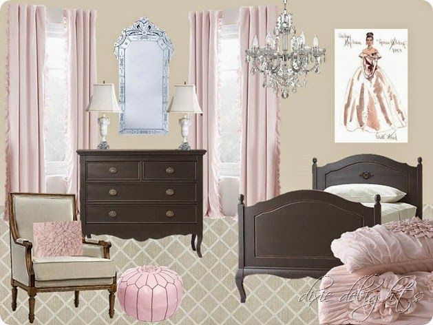 Amazing Audrey Hepburn In Roman Holiday Inspired Bedroom. Delicate Pink Bedding  Illustrates The Gown. Crystal Good Ideas