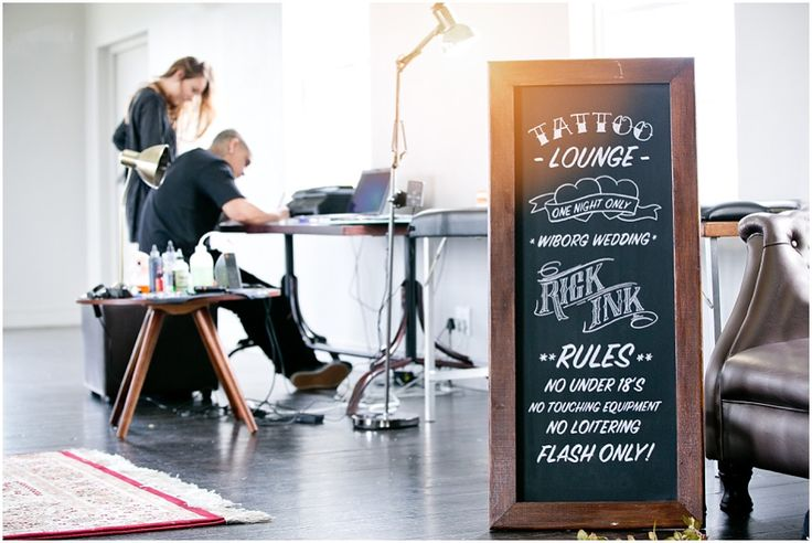 Tattoo Lounge Wedding Chalkboard  #capetownwedding #weddingsignage #chalkboard #handchalked #tattoos #weddingchalkboard