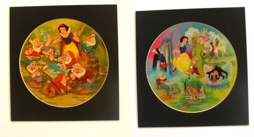 Snow White Classic  This two sided Disney Picture Disc appeals to both the nostalgic and Pop Culture aspects of Album Cover Art.  The graphics are a very colorful depiction of key scenes and characters from the movie and though this disc is kid friendly the appeal of this displayed is not limited by age. It reminds us of fond times when we were a kid, not a bad thing and not corny, this makes a cool display.    Framed in the RAPS Record Album Frame, changing the displayed side is simple