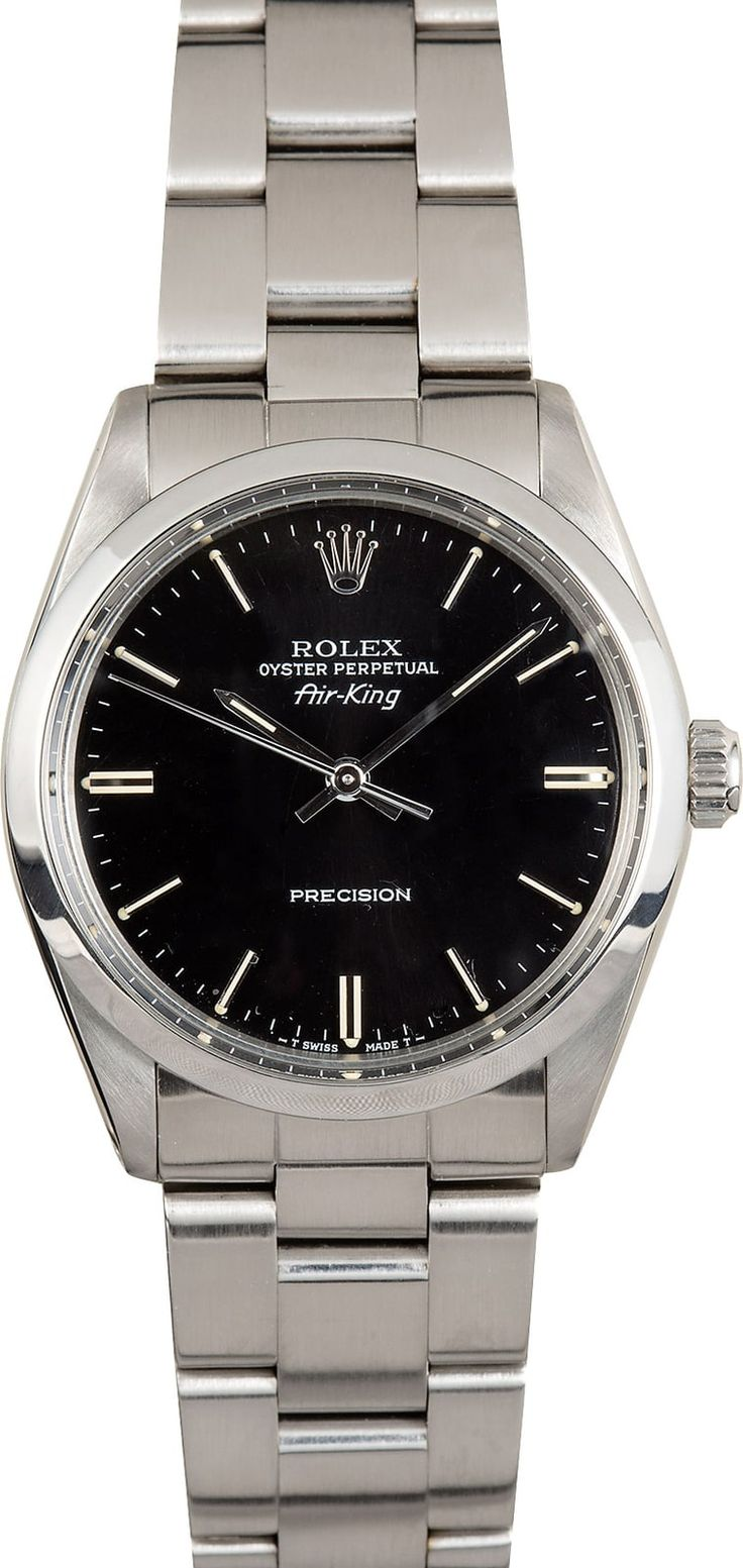 Manufacturer: Rolex   Model: Air-King 5500   Serial/Year: L 1989-1990   Grade: (What's This?) II   Gender: Men's   Features: Automatic movement, acrylic crystal, waterproof screw-down crown   Case: Stainless steel w/ polished bezel (34mm)   Dial: Black Index   Bracelet: Stainless steel Oyster w/ Fliplock clasp   Box & Papers: Bob's presentation box and Certificate of Authenticity   Comments: This Air King comes w/ Bob's 3-day satisfaction guara...
