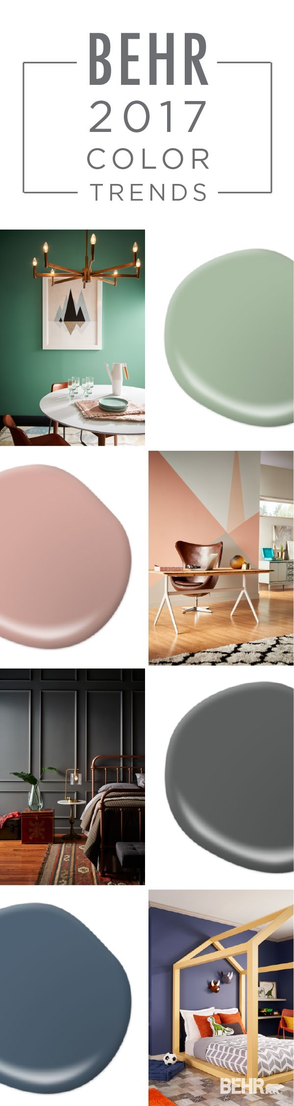 Make each room of your home a unique design experience with these shades from the BEHR 2017 Color Trends. Check out the shade Balanced to refresh your dining space, Everything's Rosy to give your home office a chic spin, Shades On for a modern aesthetic, and Midnight Show to give the bedroom a classic feel.