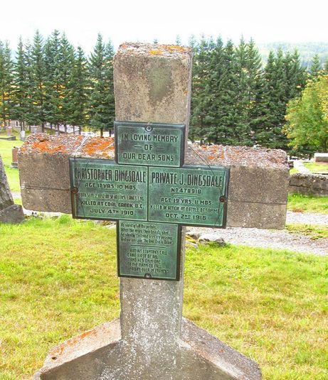 This grave marker in Fernie, British Columbia commemorates the deaths of the two teenaged Dingsdale brothers -- one in an accident, and the other in a war. For more: www.elinorflorence.com/blog/somme-casualty.