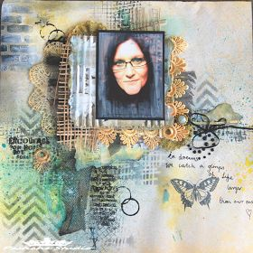 Pastiche Scrapbook Studio.  Tim Holtz stamps, Dylusions Spray and Kaszazz stencil. Layered project.