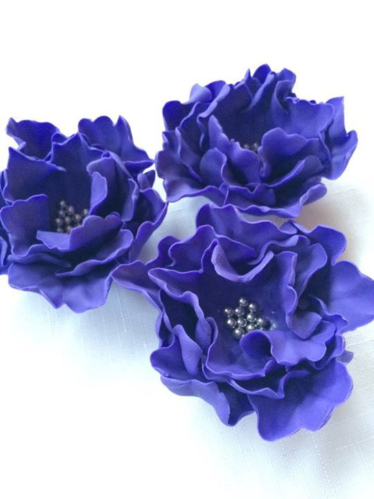 fondant flowers 3 purple large Peony Fondant flowers edible cake topper decorations vintage birthday handmade wedding bridal baby shower by InscribingLives (23.99 USD) http://ift.tt/21vZV9t