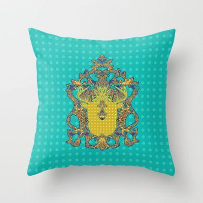 Arabic Marigold : Blue Polka Throw Pillow by Geetika Gulia - $20.00