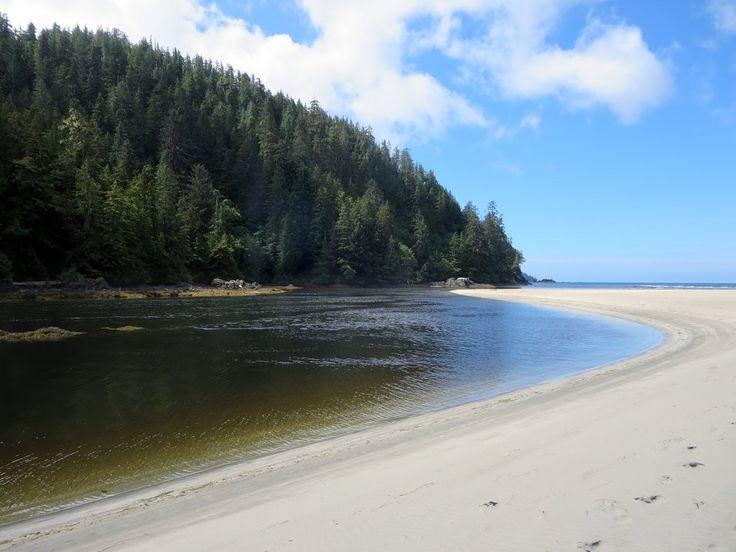 The tidal San Josef River empties into San Josef Bay in Cape Scott Provincial Park on northwestern Vancouver Island, British Columbia, Canada.