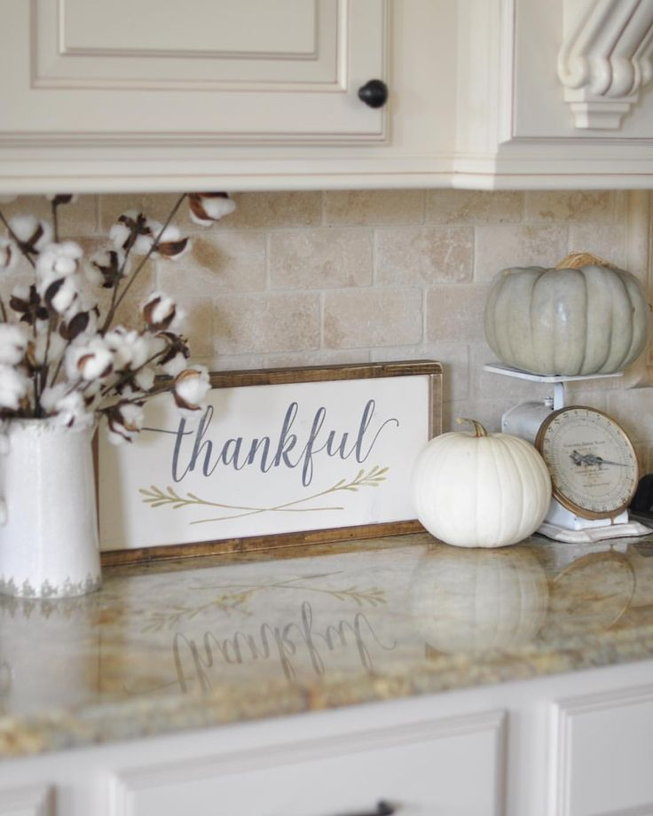 I Received This Precious Thankful Sign In The Mail Yesterday And It Ended Up On My Kitchen Counter With Vintage Scale A Of Pumpkins