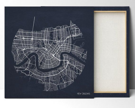 New Orleans Louisiana Map Square Wall Art Louisiana Stretched