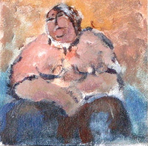 Arthur Dagley - Fat Lady (acrylic on board)