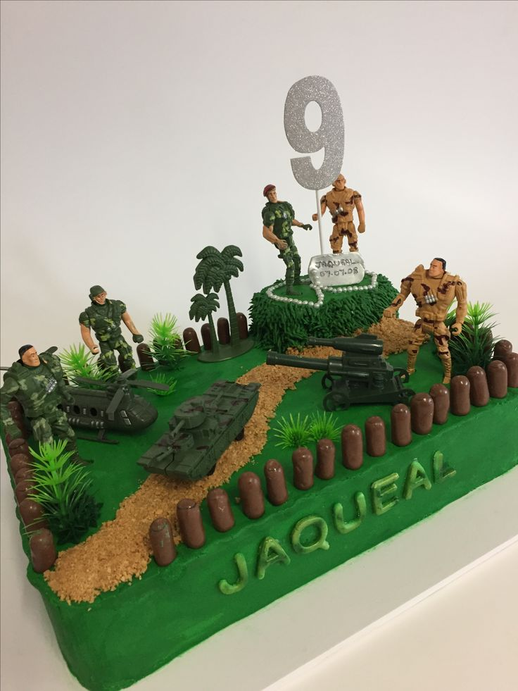 Army Cake for Jaqueal's 9th Birthday  #armycake