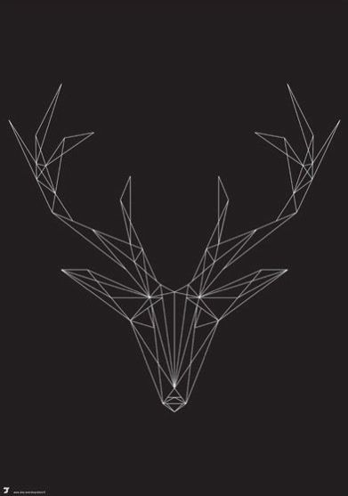 Geometric deer, artist unknown- this would be a good template for reindeer string art