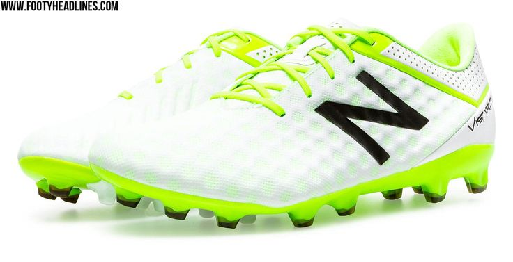 The white, black and hi-vis yellow New Balance Visaro 2016 Soccer Cleats marks New Balance's first step into Volt.