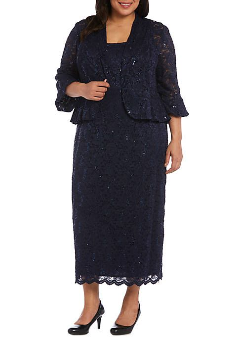 Plus Size 2 Piece 3/4 Sleeve Beaded Jacket and Dress Set in 2019 ...