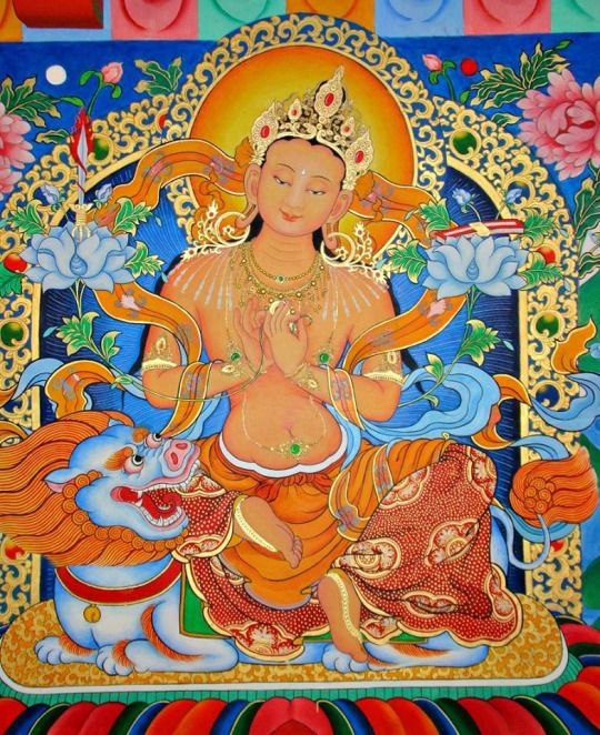 Manjushri - symbolize the embodiment of prajñā (transcendent wisdom).[2] The Lotus Sutra assigns him a pure land called Vimala, which according to the Avatamsaka Sutra is located in the East. His pure land is predicted to be one of the two best pure lands in all of existence in all the past, present and future. When he attains buddhahood his name will be Universal Sight.