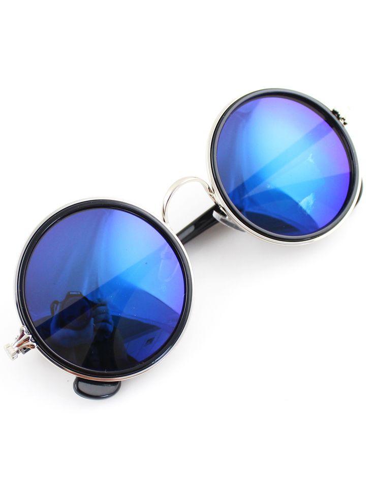LOS NECESITO! Gafas de sol lentes redondos azules-plateado US$14.30