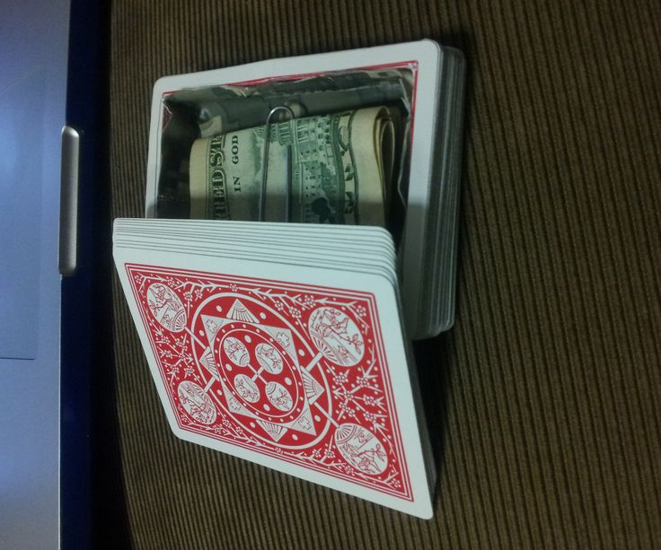 I got tired of stashing my money inside of a book (just shoved in the pages, not turned into a diversion safe), and went looking for a more creative way to hide it. I saw this youtube video, and figured that a deck of cards is the perfect decoy - it looks natural just about anywhere, and it's not weird to have more than one in a drawer. It's a bit tedious to do, but everything I used I had lying around the house, so it was essentially free.