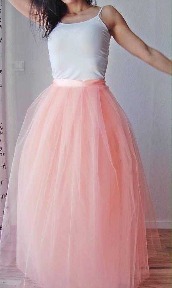 Sukne - Tylová sukňa broskyňová dlhá - 6774488_