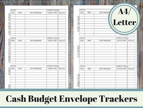 Cash Budget Envelope System Tracker Printable Cash Envelope Dave