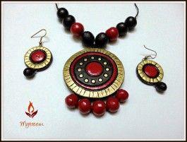 Red n golden terracotta jewellery set