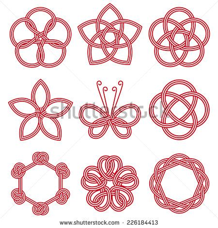 Continuation symbol set / with Mizuhiki (Decorative Japanese cord made from twisted paper) - stock vector