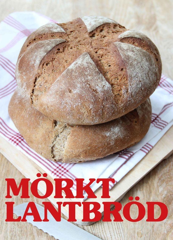 Mörkt lantbröd med mjöl som innehåller surdeg
