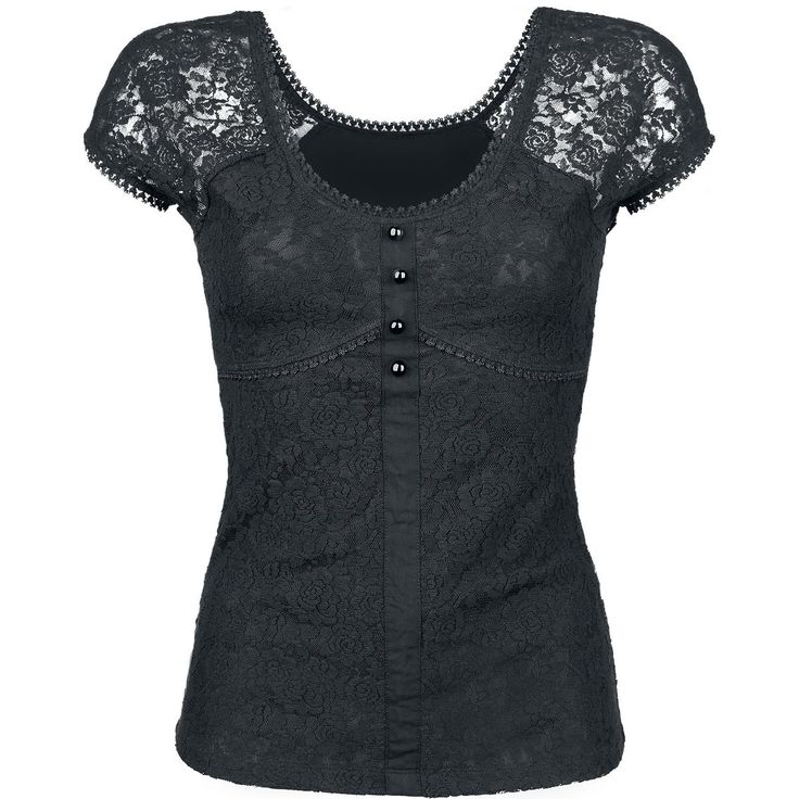 Spitzenshirt mit transparenter Schulterpartie, Unterbrustnaht und Knöpfen als Hingucker.