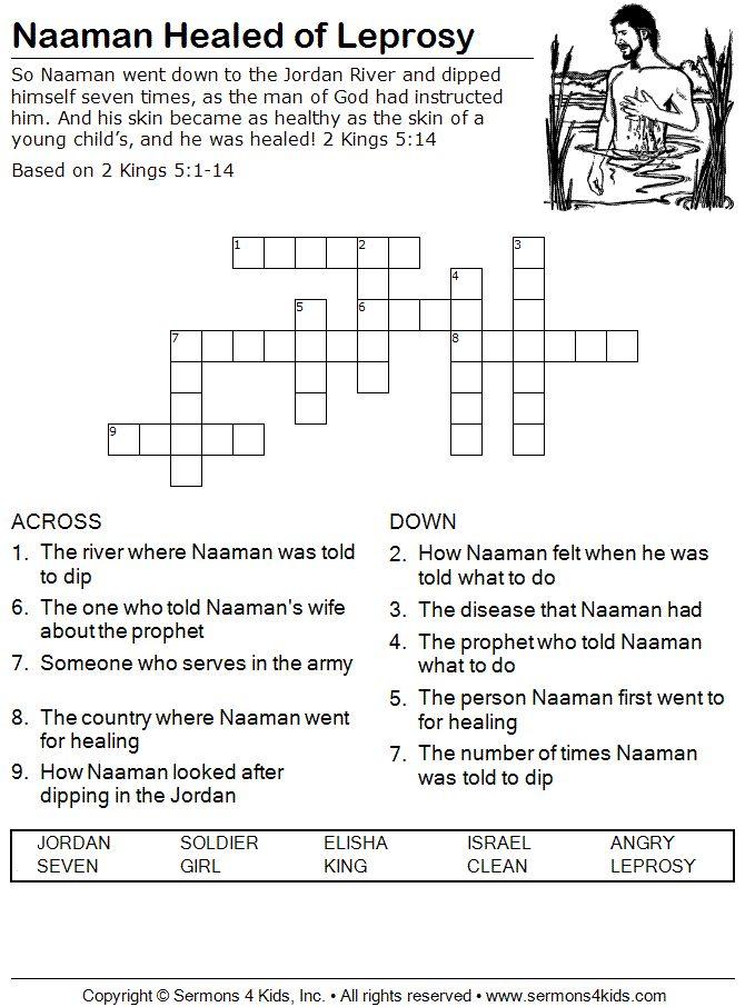 naaman healed of leprosy crossword puzzle