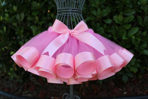 Pink Tulle with Pink Satin Ribbon Trim Edge Sewn Tutu Skirt with headband size 12mo-6X (SHIRT NOT INCLUDED)