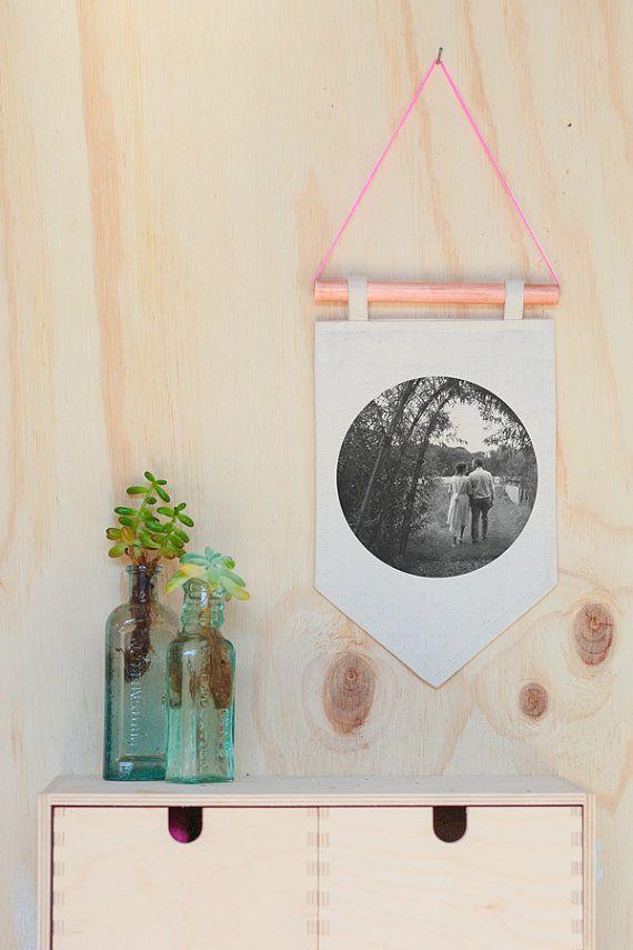 Custom couples christmas gift wedding gift photograph pennant flag copper hanging wall art