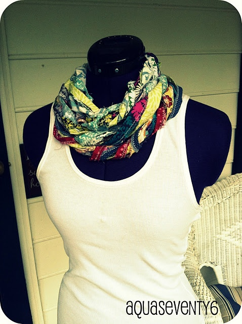 Fun scarf made out of fabric scraps.