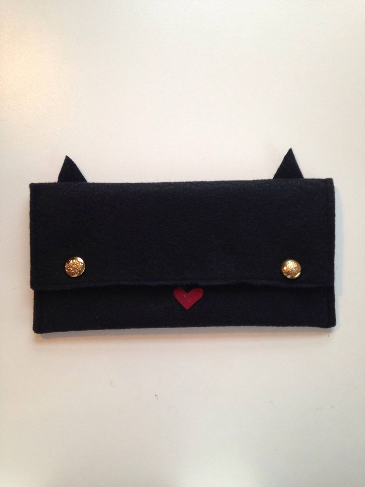 Excited to share the latest addition to my #etsy shop: Handmade Original Mushpa + Mensa Design Eco-Fi Felt Black Cat Clutch http://etsy.me/2BcFwyx #bagsandpurses #black #red #cat #blackcat #clutch #felt #ecofifelt #buttoneyes