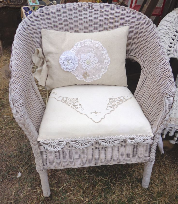 Linen & Lace Cushions for Wicker Chair Chair, Slipcovers