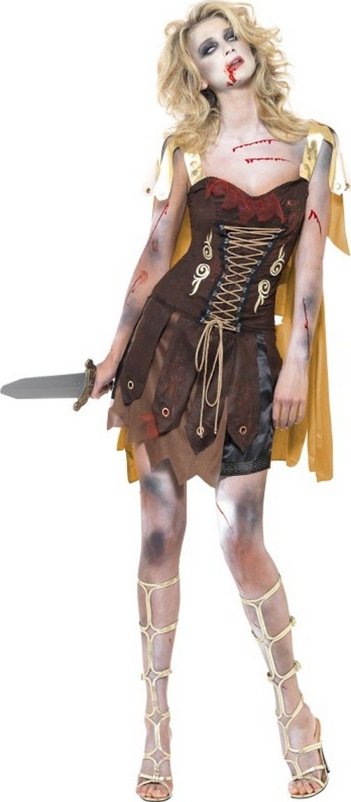 Halloween Sexy Gladiatorinnen-Zombie-Kostüm für Damen: Dieses Halloween sexyGladiatorinnen-Zombie-Kostüm für Damen enthält ein Kleid und einen Umhang. (Schwert und Schuhe nicht enthalten)Das Kleid ist braun und wirklich schön...