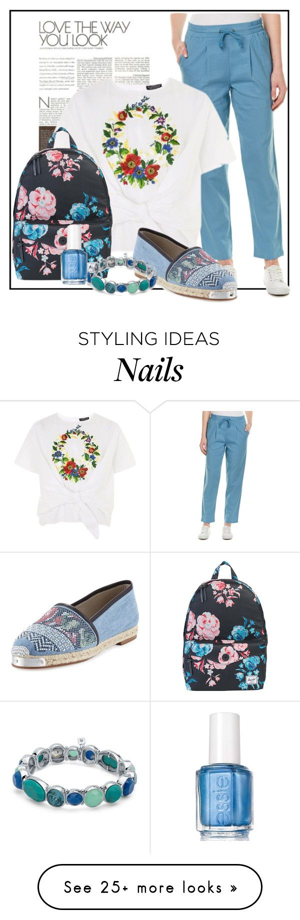 """""""Love the way you look (Spring)"""" by velvetmahya on Polyvore featuring G.H. Bass & Co., Topshop, Herschel Supply Co., Giuseppe Zanotti, Nine West, Essie and springshoes"""
