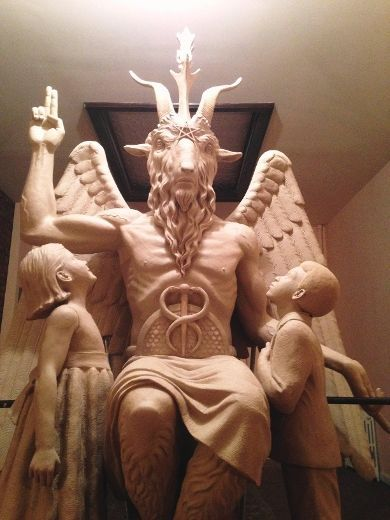 The Satanic Temple's template for a statue of Baphomet is pictured in this undated handout photo obtained by Reuters June 27, 2014