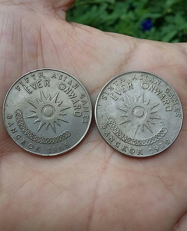 Coin Thailand 1 baht 1966-5th Asian Games and 1970-6th Asian Game Thai   Rare