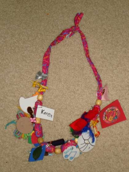 Girl Scout Fabric Swap Necklace- cute to make at the lock-in then the girls can put all of the SWAPS they collect that night on it!