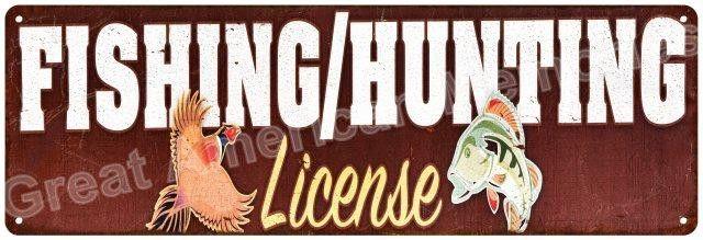Fishning & Hunting Licenses Vintage Look Reprodution Metal Sign 6x18 6180734