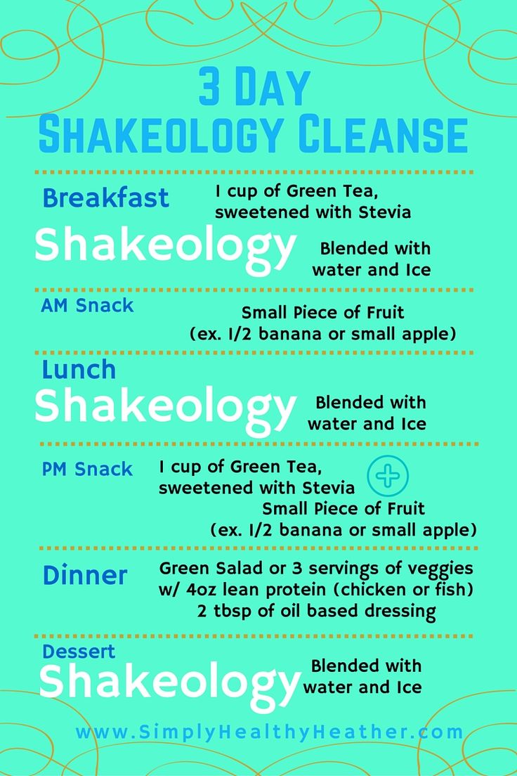 Printable PDF for the 3 Day Shakeology Cleanse. A quick jumpstart for your weight loss and workout plan!