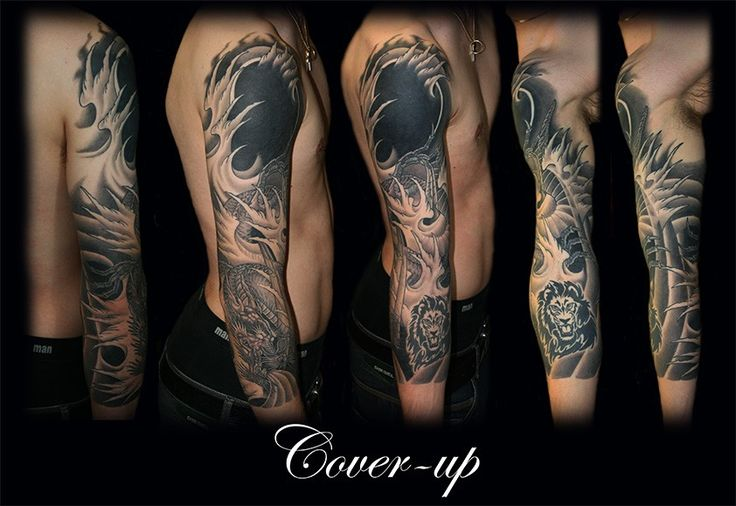 Heavy Black Tattoo Cover Up: Black Cover Up Sleeve Tattoo