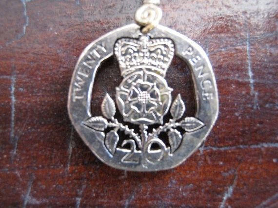 British 20 pence hand cut coin jewelry on Etsy, $40.00