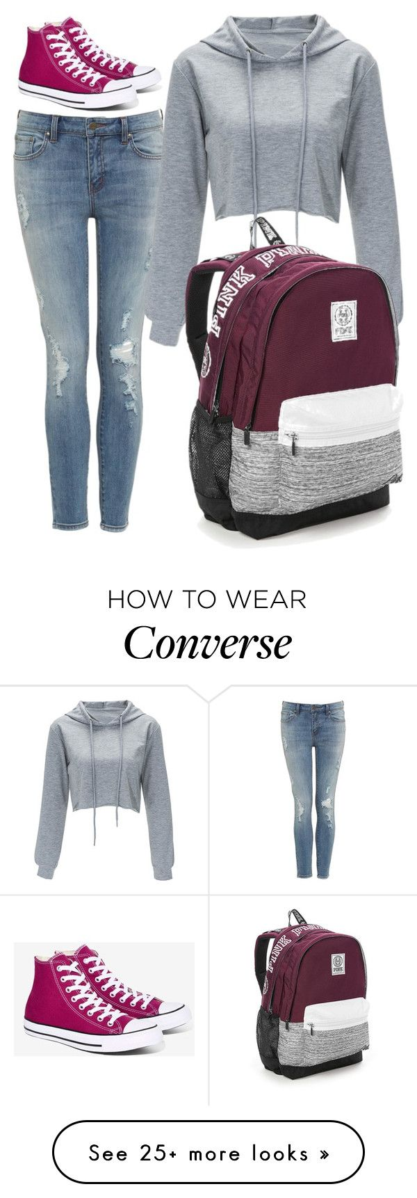 """""""Untitled #47"""" by eabhadelany on Polyvore featuring Victoria's Secret and Converse"""