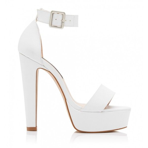 Forever New Dolly High Platform Heels ($29) ❤ liked on Polyvore featuring shoes, sandals, heels, high heels, zapatos, white, heeled sandals, high heel sandals, white heeled sandals and high heel platform shoes