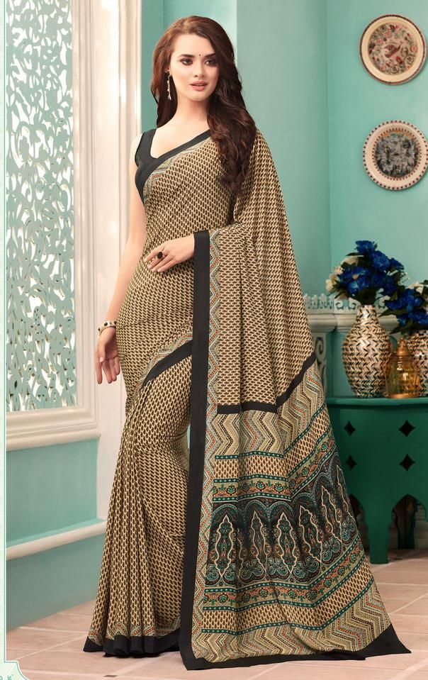 Light Coffee & Black Color Crepe Casual Party Sarees : Nrishit Collect   YellowFashion.in