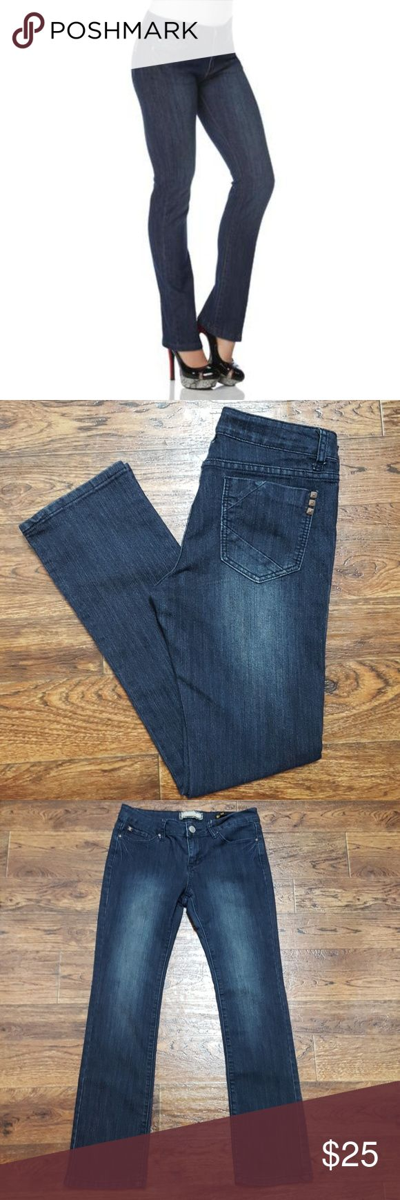 Kardashian Kollection The Kim Kim curvy straight leg jeans in a dark wash. Waist 15 inches across, inseam 29 inches. Kardashian Kollection Jeans Straight Leg
