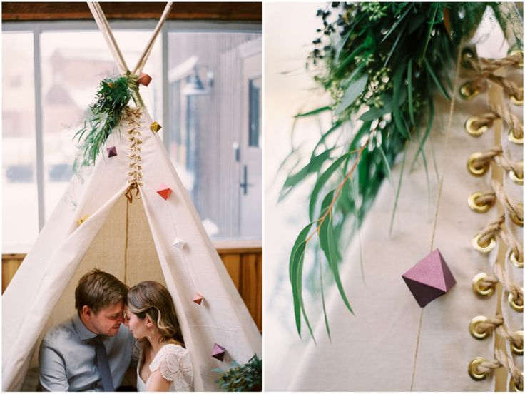 A quiet moment in a wedding teepee = love.