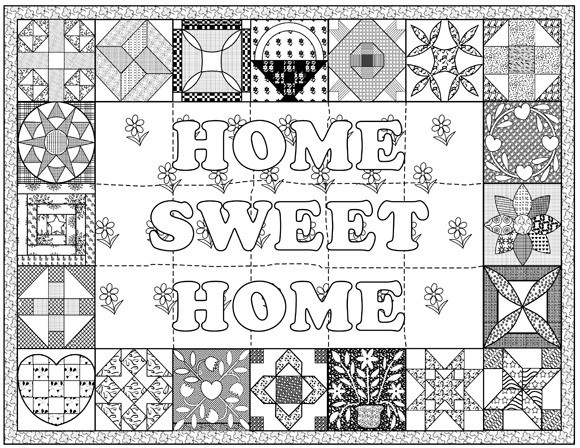 Personalized Love Quilt Coloring, Art and Quilt