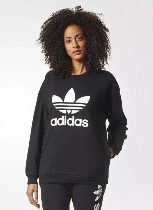 a35fa63e1bfe Adidas Women s Originals Trefoil Crewneck Sweatshirt Black BP9494 SZ Large  NEW