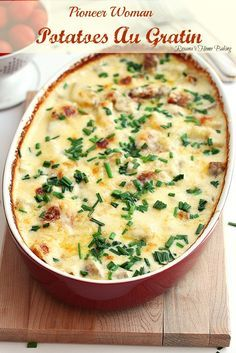 Potatoes au gratin loaded with cheese, cream and garlic. An easy no fuss no mess delicious weeknight meal. Recipe on Roxanashomebaking.com